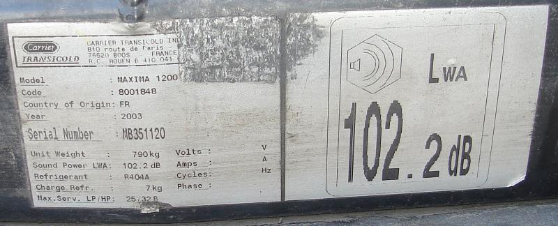 Autre Carrier GROUPE FRIGORIFIQUE MAXIMA 1200