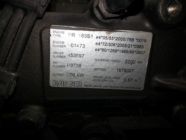 Moteur DAF MOTEUR DAF CF 75 250 PACAR
